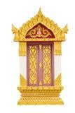 Het Thaise beeldhouwwerk van de tempeldeur Stock Foto