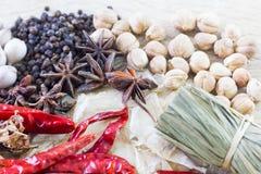 Het Thaise concept van voedselrecepten voor gezondheid Stock Foto's