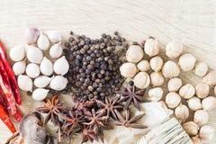 Het Thaise concept van voedselrecepten voor gezondheid Stock Afbeelding