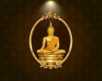 Het Thaise de grenspatroon van het kunstkader en standbeeld van Boedha Royalty-vrije Stock Foto