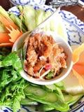 Het Thaise Droge Deeg van Garnalenspaanse pepers Stock Afbeeldingen