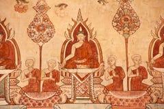 Het Thaise mural schilderen royalty-vrije stock afbeeldingen