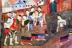 Het Thaise mural schilderen Stock Afbeelding