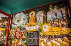 Het Thaise schilderen op de muurtempel in chiangmai, Thailand stock foto's
