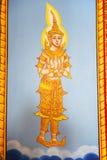 Het Thaise schilderen van de kunst op muur in tempel Stock Foto