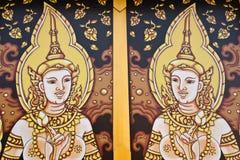 Het Thaise schilderen van de kunst op vensters Stock Foto's