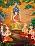 Het Thaise Schilderen van de Muurschildering Royalty-vrije Stock Fotografie