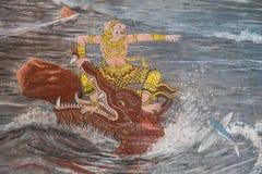 Het Thaise Schilderen van de Muurschildering Stock Fotografie