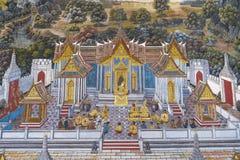 Het Thaise Schilderen van de Muurschildering Stock Afbeeldingen