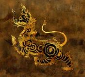 Het Thaise schilderen van Sigha van de mythologieleeuw op de muur stock illustratie