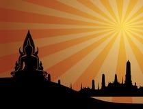 Het Thaise silhouet van Boedha op oranje achtergrond en Thaise tempel Vect Stock Foto