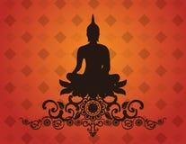 Het Thaise silhouet van Boedha op patroon vectorillustratie als achtergrond Stock Foto