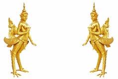 Het Thaise standbeeld van kunstkinnaree: De mythische halve vogel halve vrouw Stock Afbeeldingen