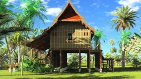 Het Thaise stijl houten hut 3d teruggeven Royalty-vrije Stock Afbeelding