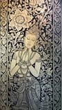 Het Thaise stijl schilderen op de deur van Wat Chedi Laung-tempel, Chian stock fotografie