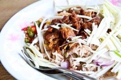 Het Thaise voedsel is naam Gebraden rijst met garnalendeeg Royalty-vrije Stock Foto's
