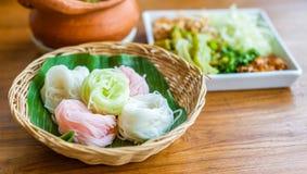 Het Thaise voedsel van de rijstnoedel Stock Fotografie