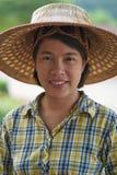 Het Thaise vrouwenlandbouwer glimlachen stock foto