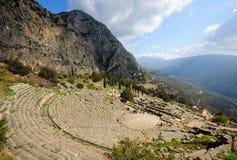 Het theater in Delphi, Griekenland Stock Foto's