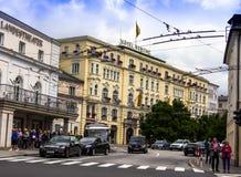 Het Theater en hotel Bristol van de Staat van Salzburg Ausria Stock Afbeelding