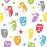 Het theater maskeert Naadloos Patroon Stock Afbeeldingen
