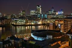 Het Theater van de bol en Stad van Londen Engeland het UK Europa stock foto's