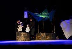 Het Theater van de Zilinamarionet voert het verhaal van Peter Pan uit stock afbeeldingen