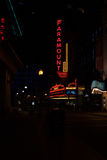 Het Theater van Paramount in Boston bij Nacht Stock Fotografie
