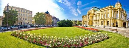 Het theater vierkant panorama van Zagreb stock afbeelding