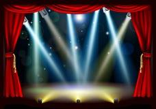 Het theaterstadium van de schijnwerper Stock Foto's