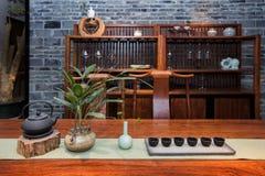 Het Theehuis van Moderne Chinese families stock afbeeldingen