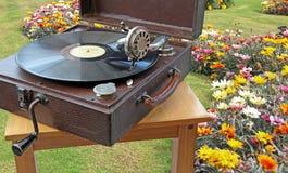 Het theekransje van de fonograaftuin stock foto's