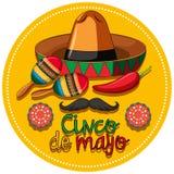 Het thema van het Cincode Mayo festival met instrumenten en hoed