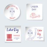 Het thema van de arbeidsdag Reeks stickers, banners van verschillende vormenronde, vierkant, rechthoek Het eraan herinneren van i stock illustratie