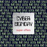 Het thema van de Cybermaandag is een vierkante banner Abstract het Gloeien Ontwerp Als achtergrond Super verkoopinschrijving, een Stock Foto's