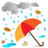 Het Thema van de herfst Een regenjas, Paraplu, Rubberlaarzen Royalty-vrije Stock Afbeeldingen