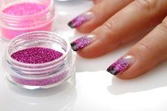 Het thema van de manicure, brokaat Stock Afbeelding