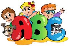 Het thema van de school met leters ABC stock illustratie