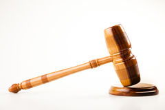 Het thema van de wet, houten hamer van rechter! Stock Afbeelding