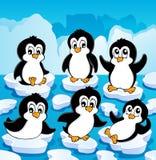 Het thema van de winter met pinguïnen   Royalty-vrije Stock Afbeeldingen