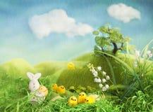 Het thema van Pasen met konijntje en kuikens Stock Afbeelding