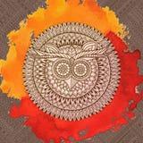 Het thema van vogelsmandala Het naadloze patroon van de uil Stock Afbeelding