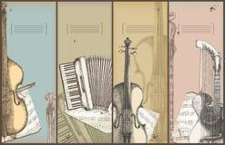 Het themabanners van de muziek - instrumenten het trekken Stock Afbeelding