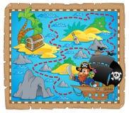 Het themabeeld 3 van de piraatkaart Stock Foto's