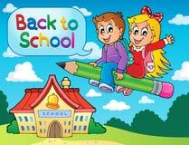 Het themabeeld 6 van schooljonge geitjes Stock Afbeeldingen