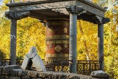 Het Tibetaanse Gebedwiel en geel doorbladert Royalty-vrije Stock Foto