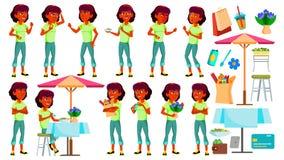 Het tienermeisje stelt Vastgestelde Vector Hindoese Indiër, Aziatisch Gezicht Kinderen Voor Web, Brochure, Afficheontwerp Geïsole royalty-vrije illustratie