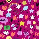 Het tienermeisje texting Meisje met een telefoon stock illustratie