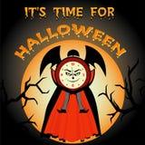 Het is tijd voor Halloween Beeldverhaal kwade klok royalty-vrije illustratie