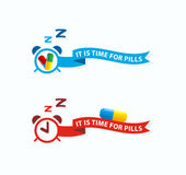 Het is tijd voor pillen Neem pillenetiket, pictogramconcept Vergeet niet Stock Foto's